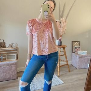 Madison & Berkeley Pink Crushed Velvet Top